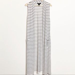 WHBM-Sleeveless Striped Duster Cardigan. Size L